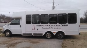 Farmington Church of Christ bus with logo that Red Rook Royal created for them.