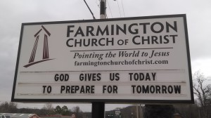 The Farmington Church of Christ sign with the logo Red Rook Royal created for them.